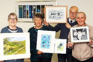 DM1950027a.jpg. Horsham Painting Group exhibition. From left, Sue Mitchell, Beryl Morley, David Jeans and John Weeks. Photo by Derek Martin Photography. SUS-190305-132416008