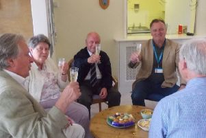 Residents at RAFA Storrington raising a toast to the independent living scheme which started 40 years ago SUS-190805-122414001
