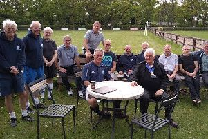 Horsham District Council chairman with Shipley walking football team