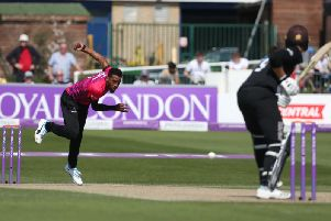 Chris Jordan in action for the Sharks against Surrey in the One Day Cup / Picture by Andrew Gasson for Sussex Cricket