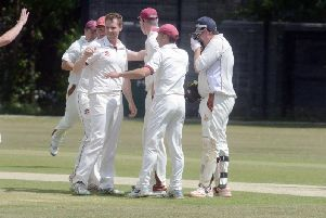 Steyning celebrate a wicket against Pagham. Picture by Kate Shemilt