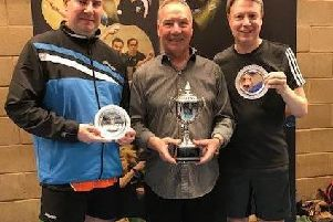 England champions (from left) Gary Knights, former European champion John Hilton and Paul Carter