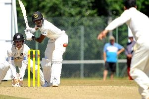 Roffey's Rohit Jagota bowls to Horsham's Jofra Archer in last year's game at Cricketfield Road. Picture by Steve Robards