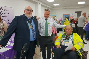 Martin Osment, Freedom Powerchairs chairman, with East Worthing MP Tim Loughton and Paul Baker