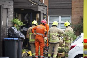 Emergency crews at the scene in Burgess Hill this morning (June 4)