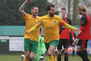 Sittingbourne v Horsham. Jack Brivio celebrates his first goal. Picture by John Lines