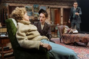 Nancy Carroll (Hester Collyer), Helena Wilson (Ann Welch) and Ralph Davis (Philip Welch) in THE DEEP BLUE SEA at Chichester Festival Theatre'Photo by Manuel Harlan