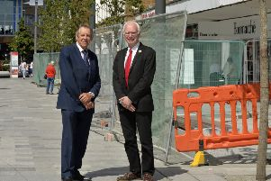 Cllr Roger Elkins and Cllr Peter Smith in Crawley town centre