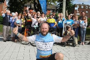 Kenny Smith back in Chichester after 50-day cycle around UK. Photo by Derek Martin Photography DM1975581a
