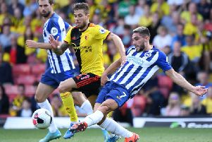 Neal Maupay scores for Brighton at Watford (getty)