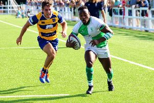 Horsham's Declan Nwachukwu makes a break for the try line in last week's victory over Beckenham. Picture courtesy of Richard Ordidge