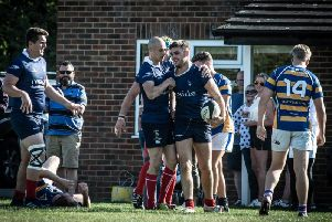 Cranleigh celebrate scoring against Worth Old Boys. Picture by Mark Cunningham Photography