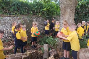 Pupils at Upper Beeding Primary School on the quest to find the eggs