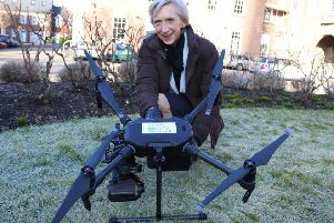 Outgoing county council leader Louise Goldsmith pictured with the drone back in February 2018