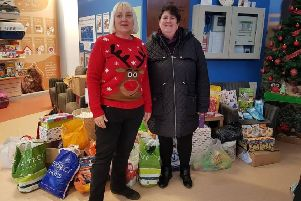 Justine Crookall, right, from Burgess Hill is the volunteer organiser of the Raystede Christmas Box Appeal 2019 which this year has a drop off point in Horsham SUS-191111-163931001