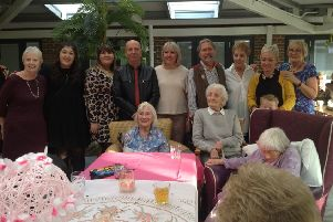 Virginia May Duffy celebrating her 100th birthday at Aspen Place care home in Horsham SUS-191211-093515001