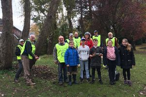 A group of Storrington Primary School students with members of Storrington & Pulborough District Rotary Club and Parish Councillor Cheryl Brown. SUS-191113-110917001