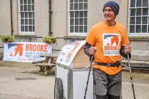 John Yates from Plaistow starts his 300-mile walk from Chester Military Museum in aid of Brooke, a charity for working horses and donkeys SUS-191119-105636001