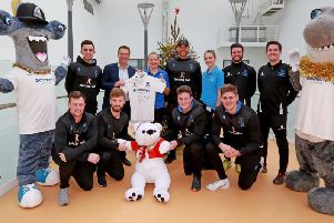 Sussex cricketers and Cricket Foundation staff at the hospital