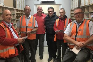 Jeremy Quin visited the Billingshurst Royal Mail sorting office this week to thank everyone for their work over Christmas - and for getting out all the Parliamentary candidates' election addresses in recent weeks