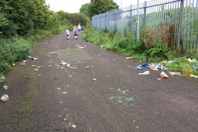 Mums' fury as children forced to wade through broken
