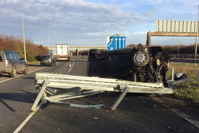 A14 repair work to take several hours after serious crash at