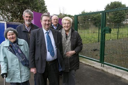Cllr William McNeilly, pictured with Community Association members, Anne Cameron, Nora Neeson, Dessie Dixon and Stuart Knowles.
