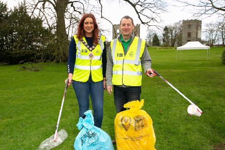 Lindsay Millar, Mayor of Mid & East Antrim Borough Council and Ian Humphreys Chief Executive of Keep Northern Ireland Beautiful, at the launch of The Big  Spring Clean in Antrim.