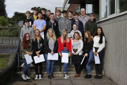 Sixth Form students at St Patrick's College, celebrating their A Level results with Principal, Dr Martin Knox.