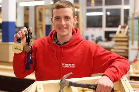 Samuel Gilmore with the medals he won at WorldSkills UK Live 2018. It has been a successful 12 months for the NRC Coleraine apprentice