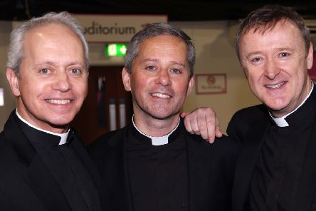 The Priests, from left, Brothers Fr Eugene and Fr Martin O'Hagan and Fr David Delargy.'''Photo: Lorcan Doherty Photography