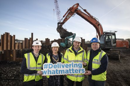 (L-R) Stephen Wilson McAdam Design, Mayor of Mid and East Antrim Council Councillor Maureen Morrow, NI Water's David McClean and Paul McSparran of BSG Civil Engineering pictured on site.