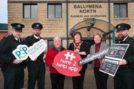 The Mayor of Mid and East Antrim helped to launch the #Here2Help roadshow. (L-R) Inspector Marc Riddell, C/Inspector William Calderwood, PJ McAvoy (Chair of Ballymena North), Mayor Maureen Morrow, Jackie Patton (MEA) and Inspector Rory Bradley.