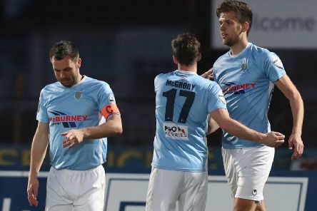 Ballymena United's Jim Ervin (left) and Adam Lecky (right). Pic by Pacemaker.