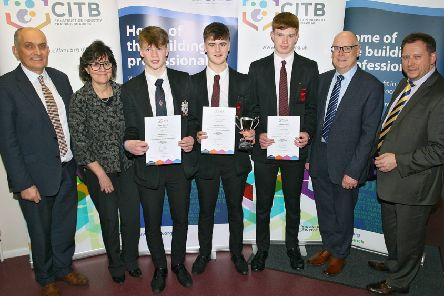 Ballymena Academy Students receiving 1st,2nd, 3rd place - Tom Heaney, Mrs Connor Deputy Prinicipal with Tim Bailie (3rd), Matthew Orr (1st) and Richard Carson (2nd) pictured with Mr Warwick, Ballymena Academ