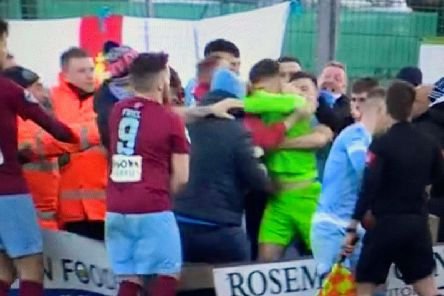 Trouble flared following Ballymena United's late winner