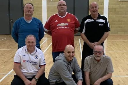 Pictured during the first week of the Walking Football programme are Denver McMeekin, Robin Andrews, Cllr Rodney Quigley, Colin McMeekin and Council Community Sports Development Officer, Gary Boyd