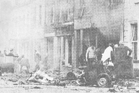 The aftermath of the IRA bomb that devastated Coleraine town centre on June 12, 1973 killing six pensioners