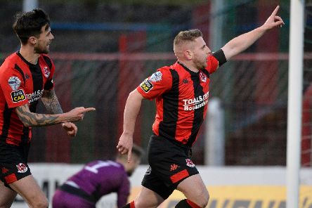 David Cushley celebrates after putting Crusaders in front from the spot