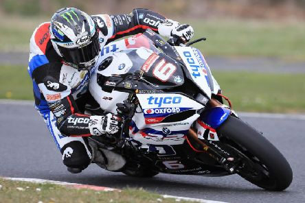 Michael Dunlop on his new Tyco BMW during a test at Kirkistown on Thursday.