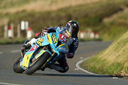 Sam West in action at Guthrie's during the Isle of Man TT Races.
