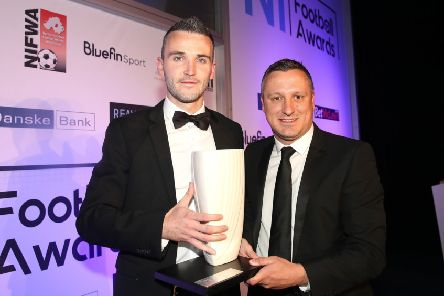 The Bluefin Sport 'Premier Intermediate League 'Player of the Year' winner, 'Ryan McCready from Queen's University, with NIFL managing director Andrew Johnston at the end-of-season awards. Pic by PressEye Ltd.