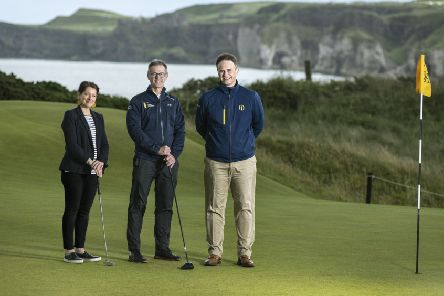 Professor Karise Hutchinson Provost of the Coleraine Campus, Dr Nigel Dobson, Head of Sports Services and Johnnie Cole-Hamilton, Executive Director Championships at The R&A.