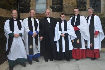 (L-R) Ven David Huss (Archdeacon of Raphoe); Very Rev Kenneth Hall (Dean of Clogher); Rev Canon David Crooks (Diocesan Registrar); Rev Chris Mac Bruithin (Rector); Ven. Robert Miller (Archbishop's Commissary); and Rev Canon Harold Given (Rural Dean)