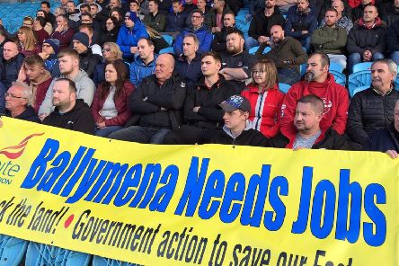 Wrightbus workers and families at the mass meeting for jobs at Ballymena showgrounds