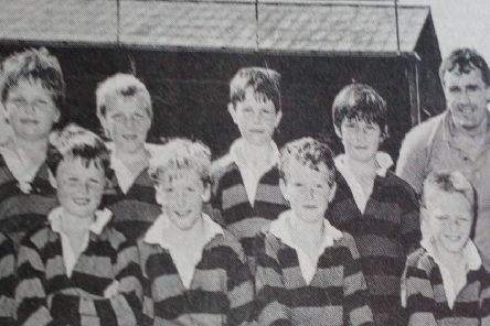 The mini rugby team from Ballymena Academy who competed in the Northern Bank Primary  Mini-Rugby Championships at Ravenhill pictured with coach Barry Coen and Northern Bank Youth Officer, Brian McKibbin.'1989