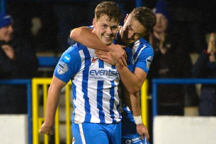 Ben Doherty celebrates a goal with Aaron Jarvis