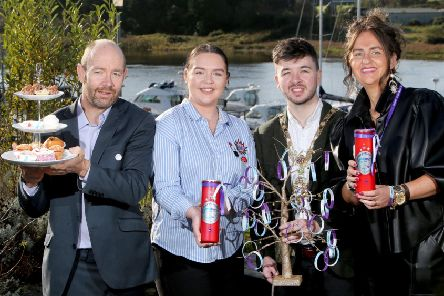 The Mayor of Causeway Coast and Glens Borough Council Councillor Sean Bateson pictured with Terry, Yasmin and Louise Geddis from The Zachary Geddis Break The Silence Trust pictured at a fundraising coffee morning in Cloonavin