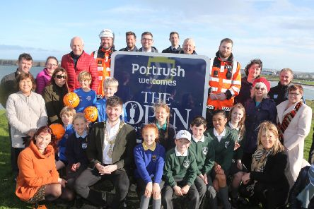 Members and representatives from local groups selected to receive a share of The Open Legacy Fund pictured in Portrush with the Mayor of Causeway Coast and Glens Borough Council, Councillor Sean Bateson, Funding Unit Manager Patricia O'Brien, Project Manager Heidi Clarke and Director of Leisure and Development Richard Baker