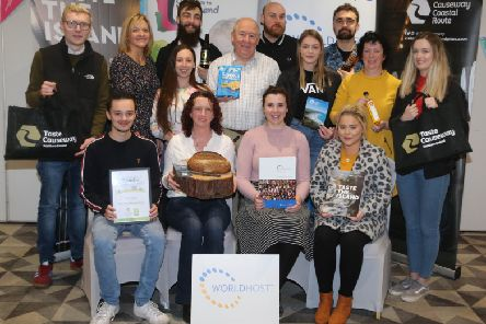 Participants from Me and Mrs Jones boutique hotel in Portstewart, The Manor House on Rathlin Island and The Tides, Portrush who recently completed the World Host Food Ambassador training pictured with Wendy Gallagher (second left) and Steven Chambers (middle town, second left) who led the course, along with Siobhan McKenna (middle row, second right) from Causeway Coast and Glens Borough Council's Tourism Team